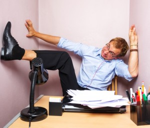 Man Trapped in a Small Office